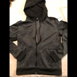 Adidas Black Full Zip Fleece Lined Hooded Jacket L